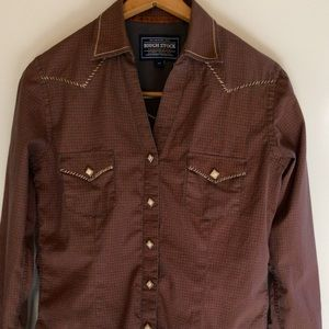 ROUGH STOCK button up western style top in XS